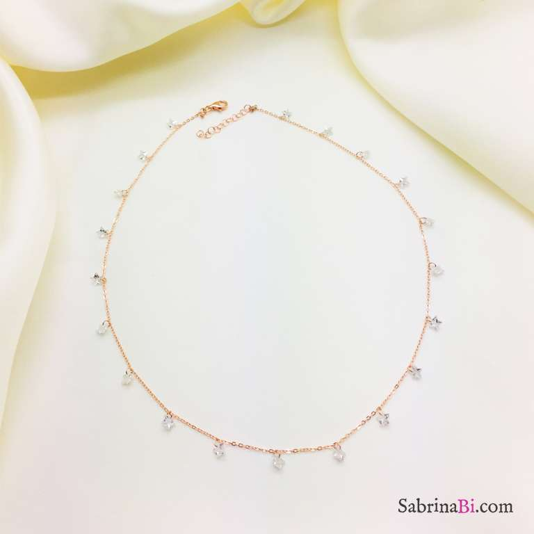Collana girocollo argento 925 oro rosa cascata stelle Zirconi