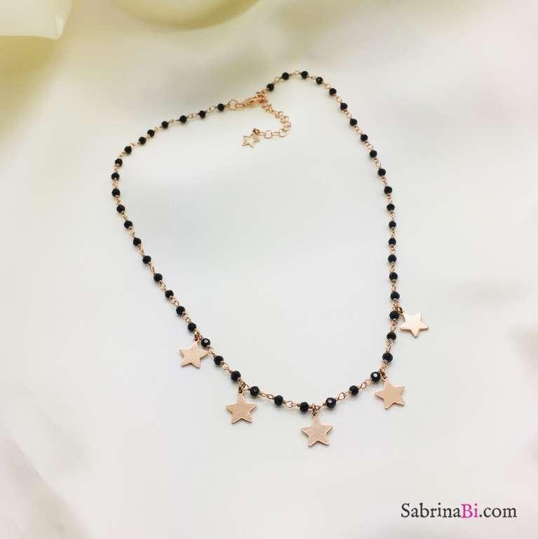 Collana girocollo argento 925 oro rosa rosario Spinelli neri 5 stelle