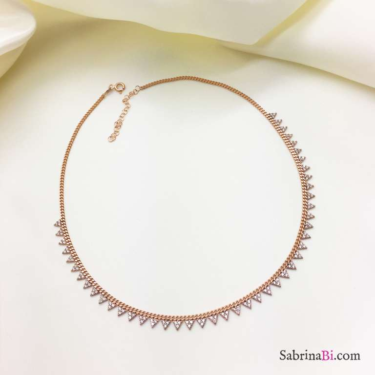 Collana girocollo argento 925 oro rosa Triangoli Zirconi