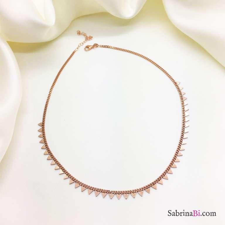 Collana girocollo argento 925 oro rosa Triangoli