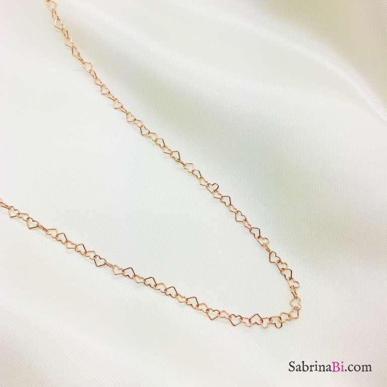 Collana girocollo catena a cuore piccolo argento 925 oro rosa