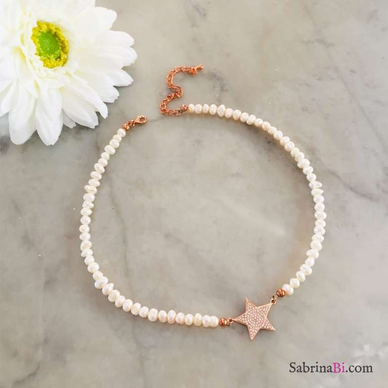 Collana girocollo Perle di fiume maxi stella Zirconi