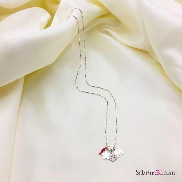 Collana lunga argento 925 lettera, cornetto, stella e zampa Zirconi