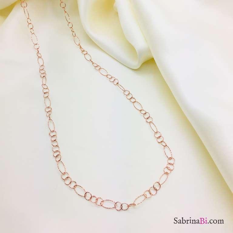 Collana lunga argento 925 oro rosa cerchi e ovali diamantati