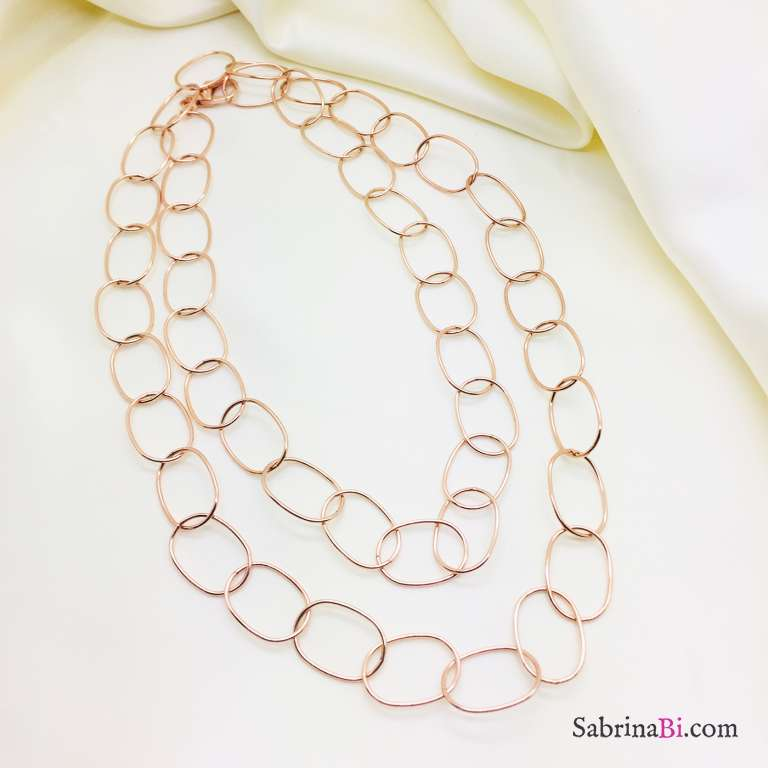 Collana lunga argento 925 oro rosa ovali grandi lisci