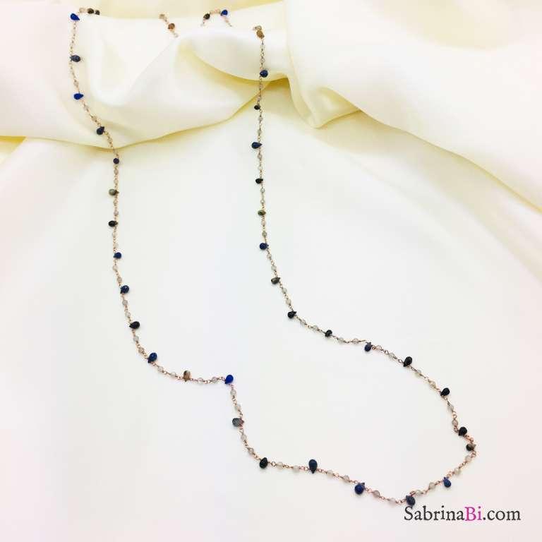 Collana lunga argento 925 oro rosa rosario Lapislazzuli goccia