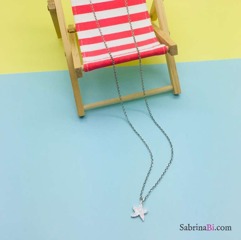 Collana lunga argento 925 Stella marina Zirconi