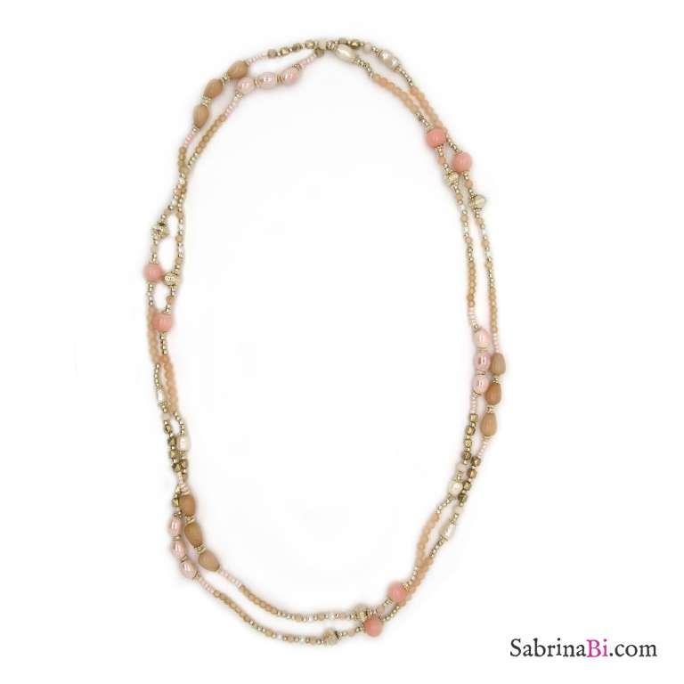 Collana lunga oro perline rosa