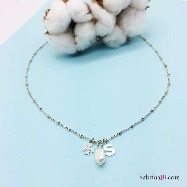 Collana rosario argento 925 lettera, perla e quadrifoglio