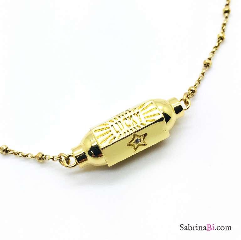Collana rosario argento 925 oro giallo Locket Lucky