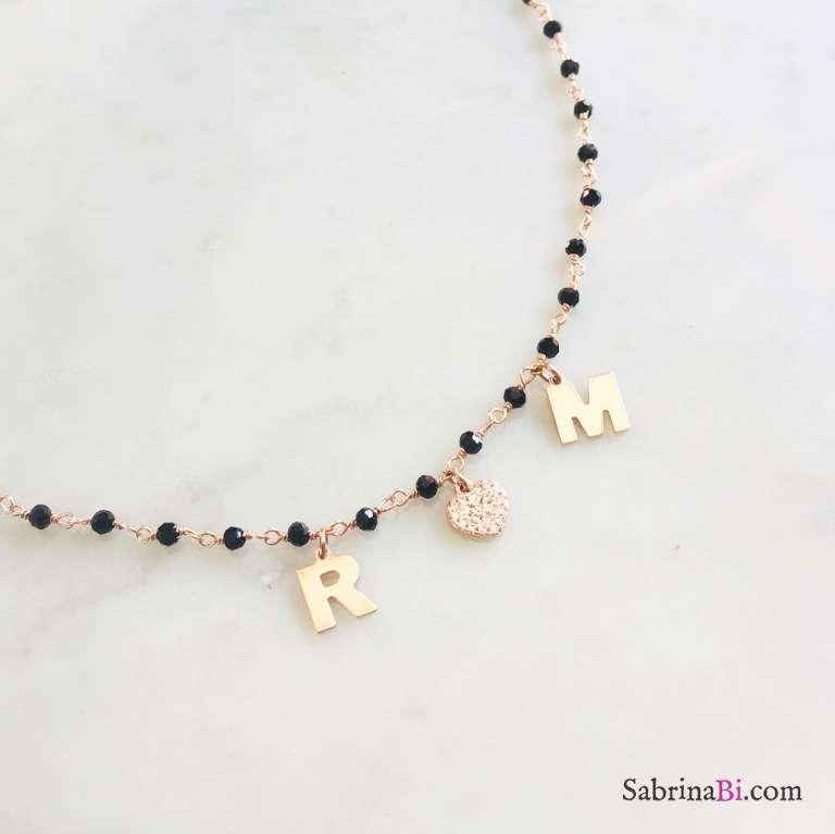 Collana rosario Spinelli argento 925 oro rosa 2 lettere e cuore Zirconi