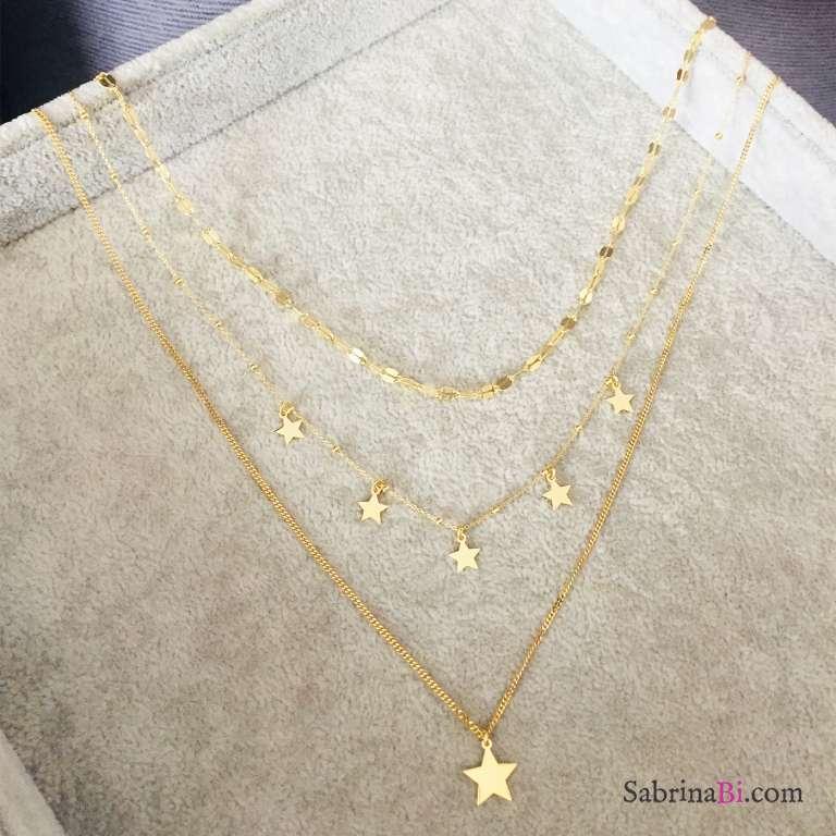 Collana tre fili argento 925 oro giallo con Stelle