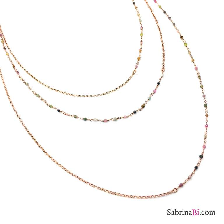 Collana tre fili argento 925 oro rosa Zoe