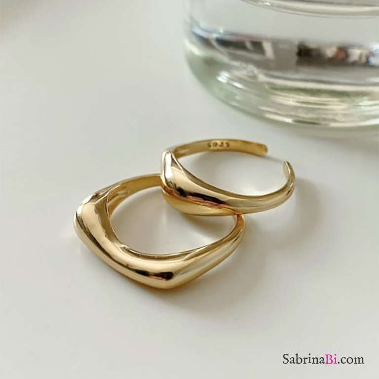 Doppio anello regolabile Onda argento 925 oro giallo