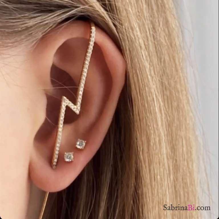 Mono ear cuff argento 925 oro rosa Fulmine Zirconi