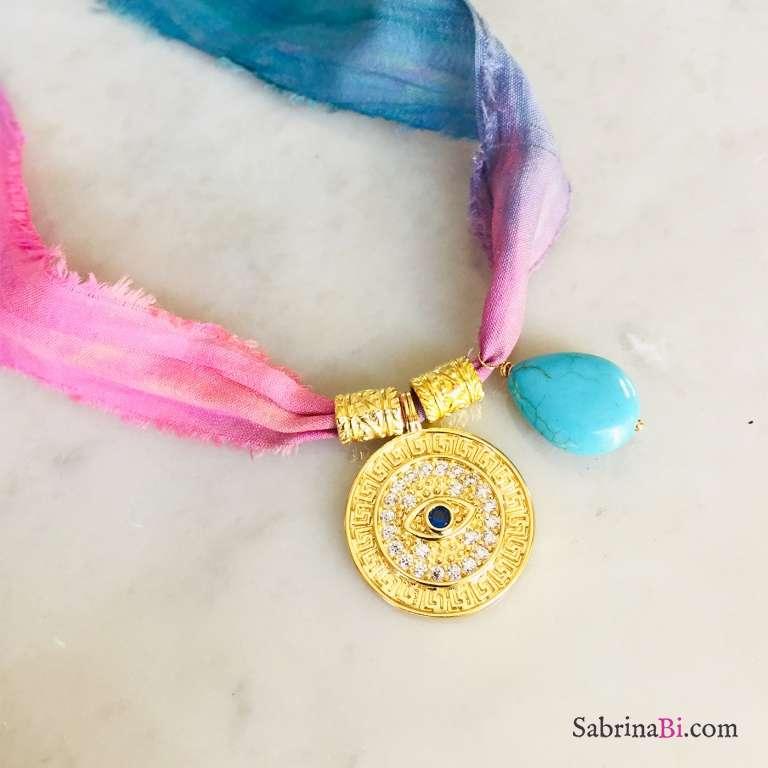 Nastro di seta rosa blu con ciondolo Occhio Zirconi e Turchese