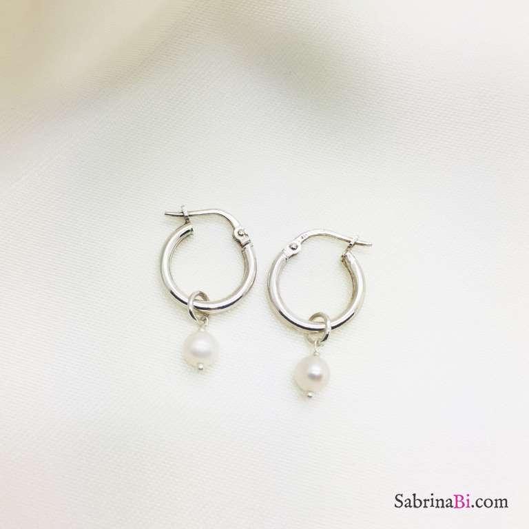 Orecchini a cerchio 1 cm. argento 925 Perla di fiume