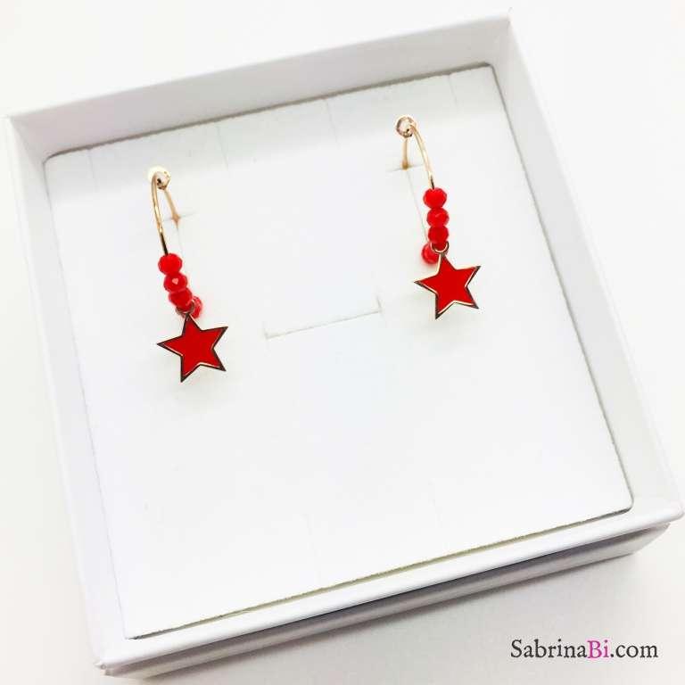 Orecchini a cerchio argento 925 oro rosa cristalli e stelle rosse