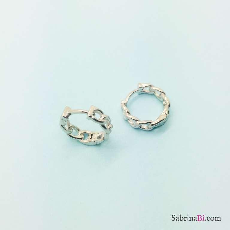 Orecchini a cerchio piccoli catena argento 925