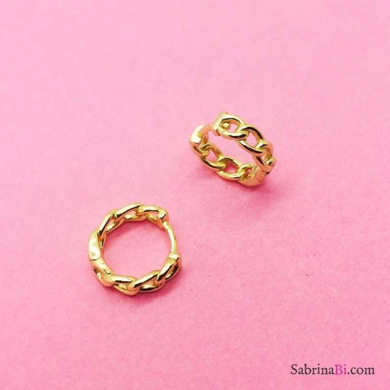 Orecchini a cerchio piccoli catena argento 925 oro giallo