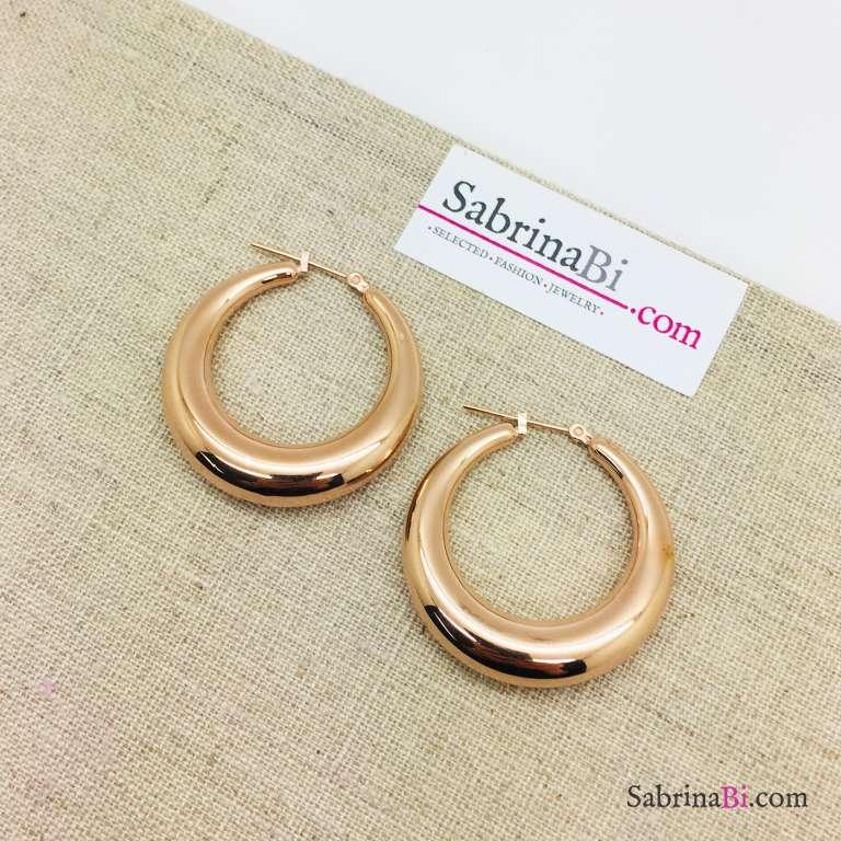 Orecchini a cerchio spessi in acciaio inox misura grande oro rosa