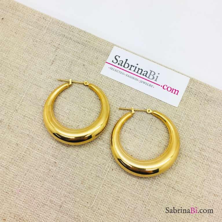 Orecchini a cerchio spessi in acciaio inox misura grande oro