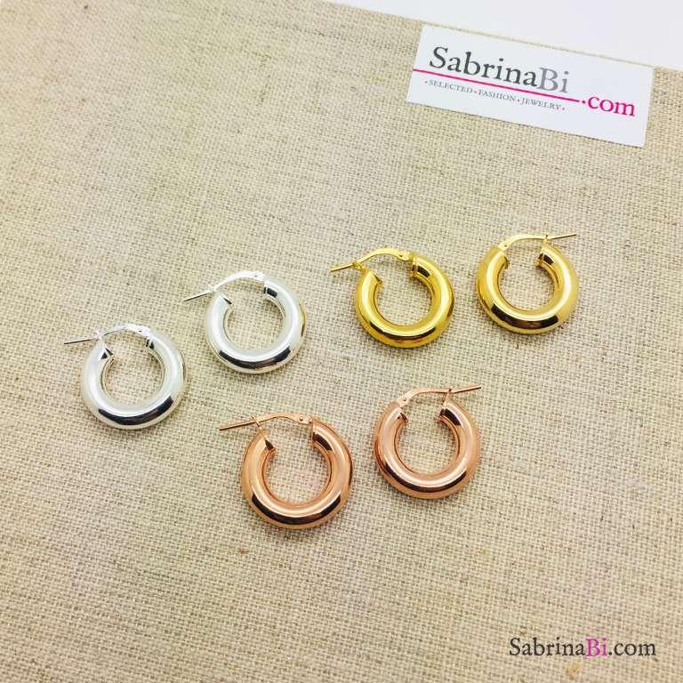 Orecchini a cerchio spesso piccoli argento 925 oro rosa