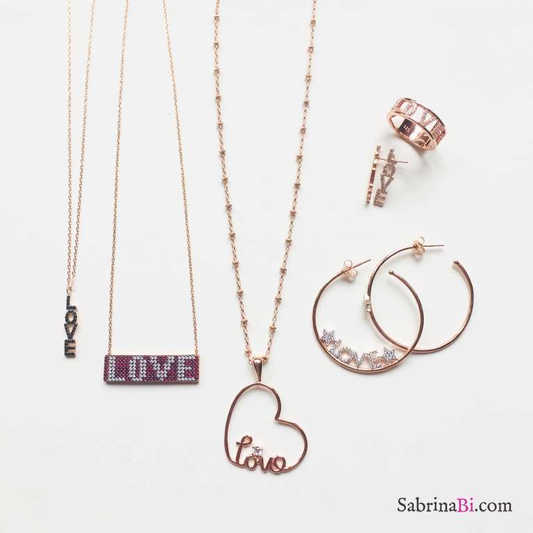 Orecchini a lobo argento 925 oro rosa LOVE Zirconi