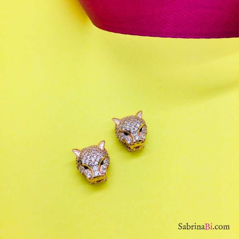 Orecchini a lobo argento 925 oro rosa Panther