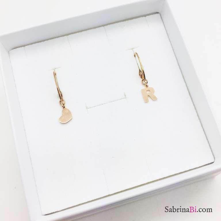 Orecchini argento 925 oro rosa Cuore e lettera