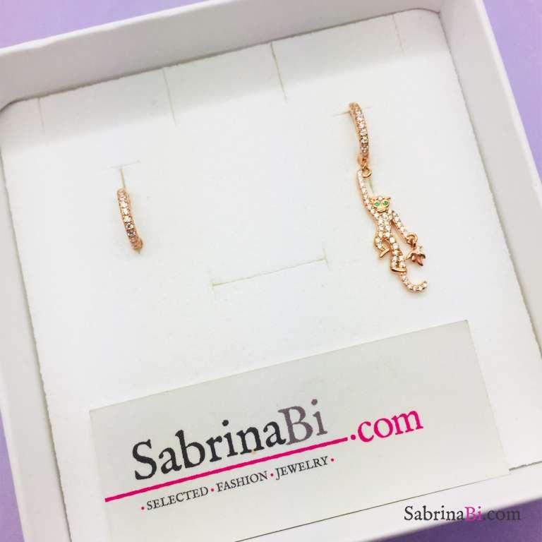 Orecchini cerchio argento 925 oro rosa Scimmietta