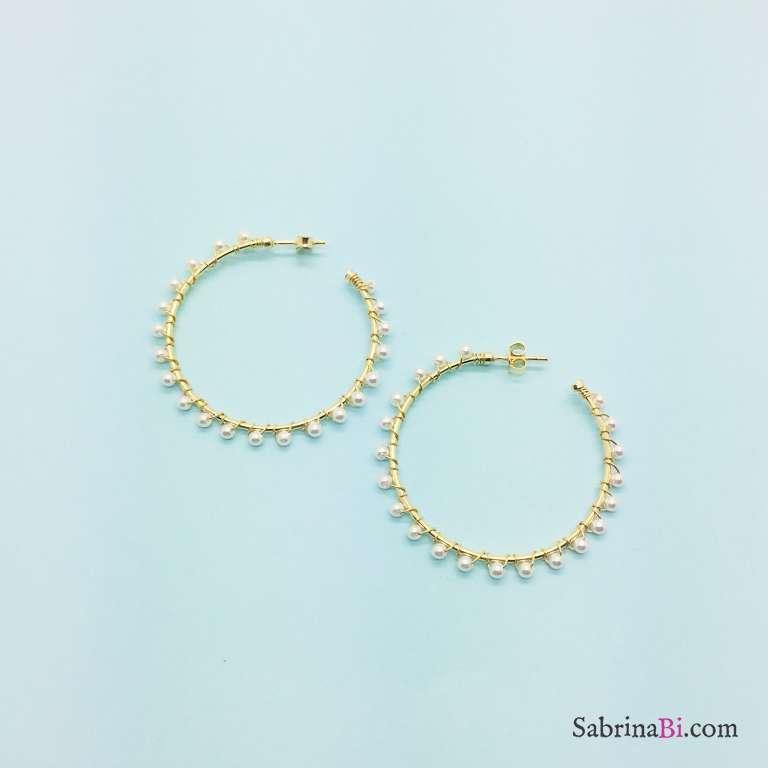 Orecchini cerchio grande argento 925 oro giallo Perle