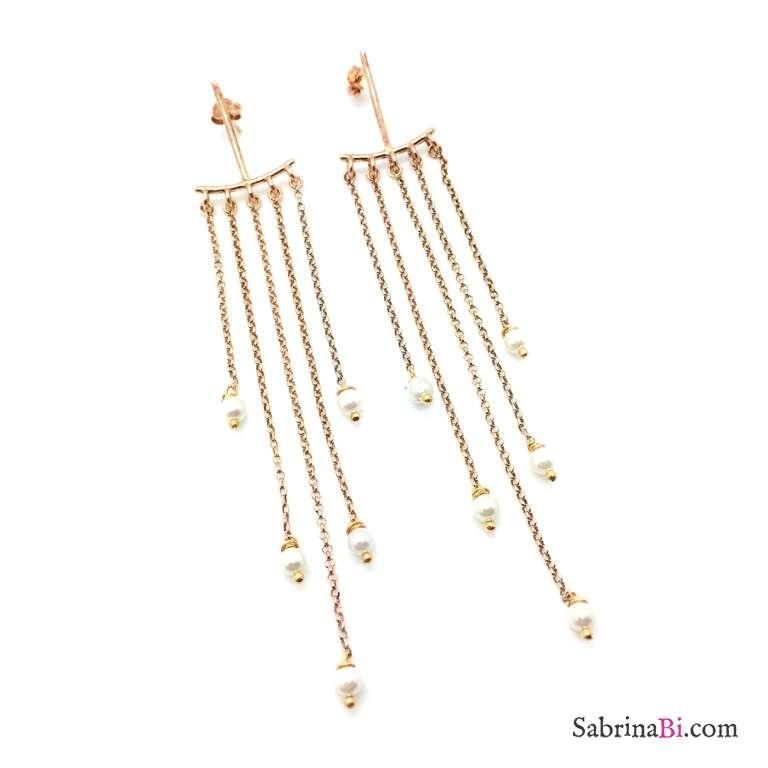 Orecchini Chandelier argento 925 oro rosa Alysia