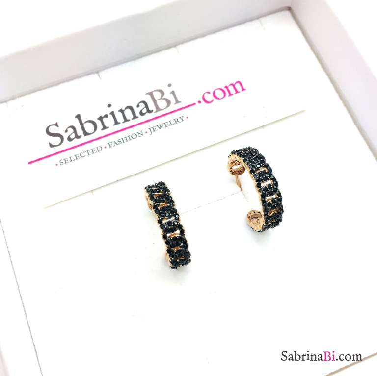 Orecchini mezzo cerchio argento 925 oro rosa groumette stretta Zirconi neri