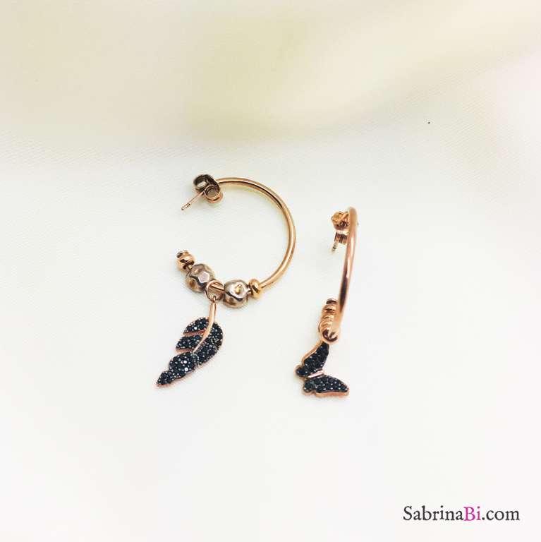 Orecchini mezzo cerchio argento 925 oro rosa Piuma e farfalla