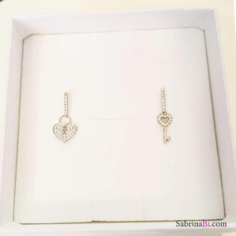 Orecchini pendenti argento 925 Lock my heart