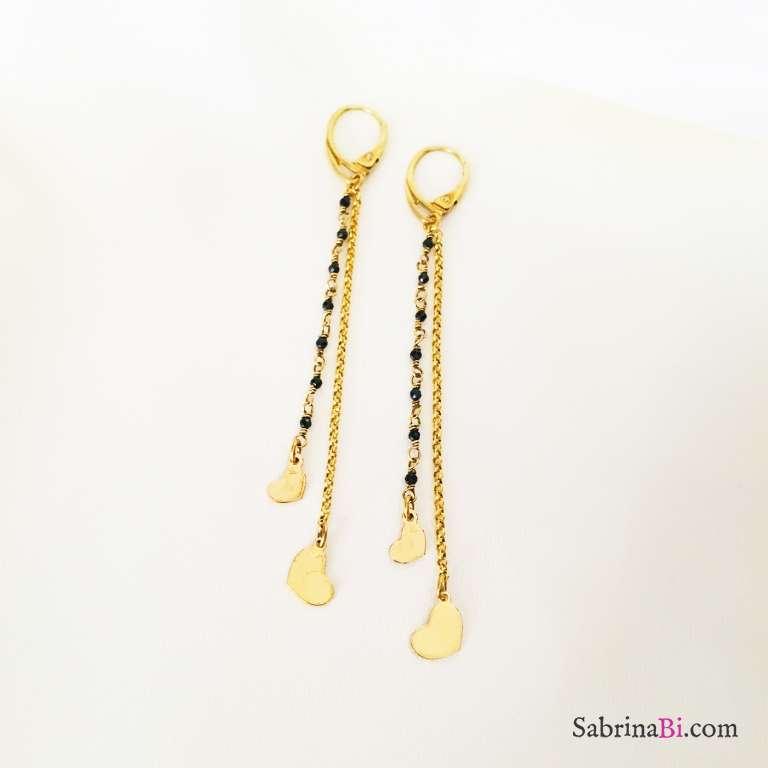 Orecchini pendenti argento 925 oro giallo Mon Amour