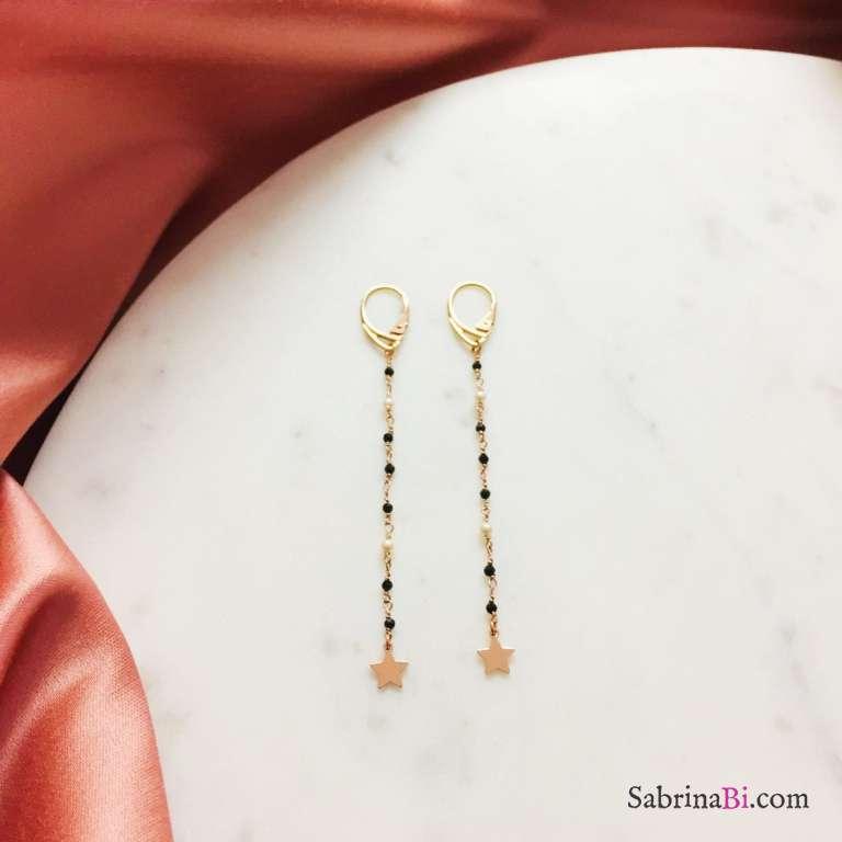 Orecchini pendenti argento 925 oro rosa Spinelli e Perle Stelle