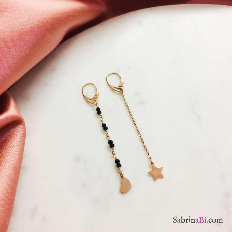 Orecchini pendenti argento 925 oro rosa Stella e Cuore