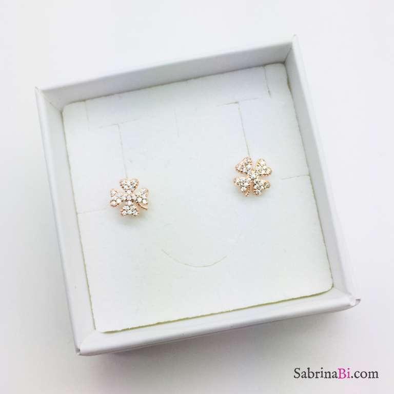 Orecchini quadrifoglio Zirconi a lobo argento 925 oro rosa