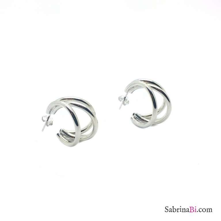 Orecchini triplo cerchio argento 925