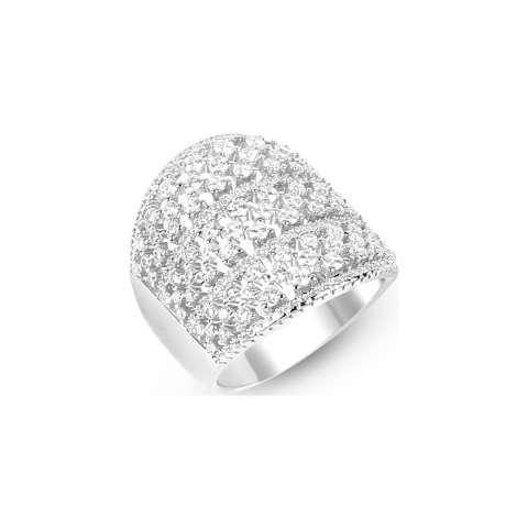 Anello argento 925 fascia alta 3 file brillanti matrimonio