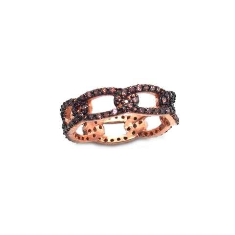 Anello argento 925 oro rosa fedina groumette brillanti bronzo