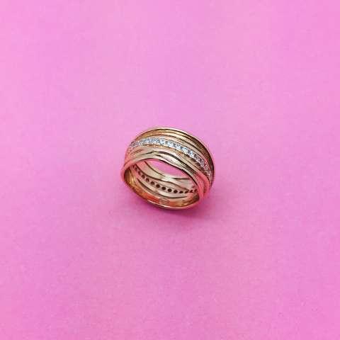Anello argento 925 oro rosa Filo della vita