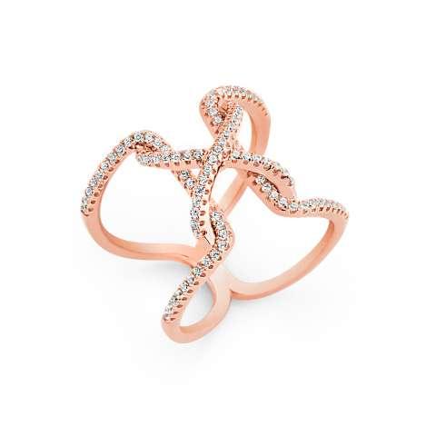 Anello argento 925 oro rosa Nodo brillanti