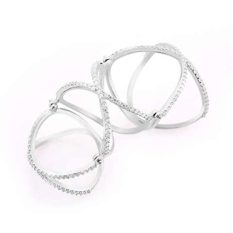 Anello armatura argento 925 brillanti