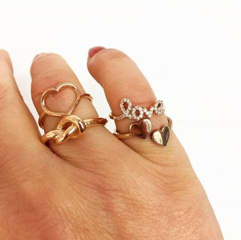 Anello regolabile argento 925 oro rosa nodo