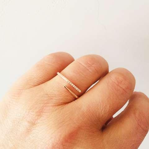 Anello regolabile argento 925 oro rosa squadrato Zirconi