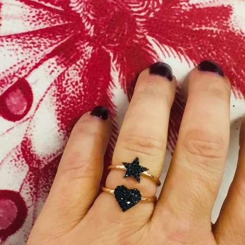 Anello regolabile argento 925 oro rosa stella pavè Zirconi neri