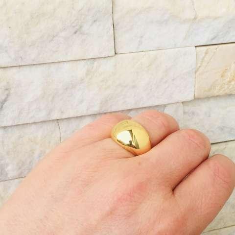 Anello regolabile fascia bombata argento 925 oro giallo